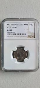 Saudi Arabia 1/4 Ghirsh AH1356/1937 Reeded Edge NGC MS 63