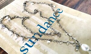 """NEW $198 Sundance 27"""" Labradorite Pearl Sterling Silver Chain Beaded Necklace"""