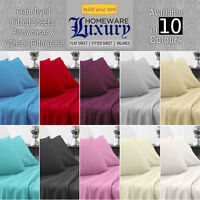 Plain Dyed Fitted Sheet - Pillowcase 50/50 Poly Cotton - 10 Colours in all Sizes