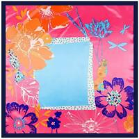 "SCARF 35"" Square Navy Blue Border Hot Pink Background Turquoise Floral FLOWERS"