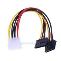 """6"""" 4 Pin IDE to Dual Serial ATA SATA Y Splitter Hard Drive Power Adapter Cable"""