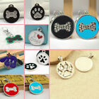 Engraved Pet ID Paw Bone Round Doggie Glitter Metal Zinc Alloy Cute Dog Cat Tag