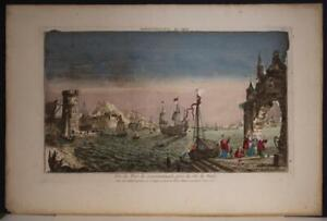 ISTANBUL THE HARBOR TURKEY 1760 MAILLET ANTIQUE COPPER ENGRAVED OPTICAL VIEW