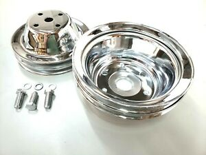 SBC Small Block Chevy 2 Groove Chrome Steel Long Water Pump Pulley Kit 327 350