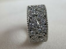 BNWT RETIRED GENUINE PANDORA SS SHIMMERING LEAVES WIDE RING-190965CZ-48