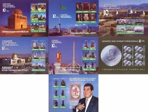 Turkmenistan 2001, 10th Anniversary of Independence, 7 Blocks