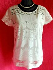BANANA REPUBLIC White Lacy Top + Cami Cap Sleeve Keyhole Back Blouse Sz 8 2-Pc