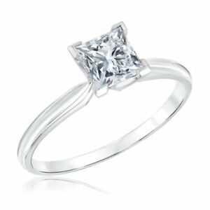 1C Classic Four Prong Princess Cut Solitaire Engagement Ring 9K White Gold Over