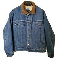 Vintage 90's Mens XL Wrangler Hero Sherpa Shearling Lined Denim Blue Jean Jacket