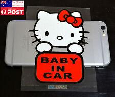 Cute Kitty Cat Red Baby In Car / On Board Car Vinyl Sticker Decal Newborn 13cm