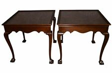 Vintage Pair of Drexel Mahogany Chippendale Style Ball & Claw Foot Side Tables