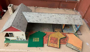 Vintage T Cohn Inc. MARX Tin Metal Doll House Ranch Style House-Will Piece Out