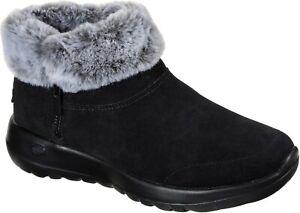 Skechers SK144003 On The Go Joy Savvy black ladies warm winter zip up ankle boot