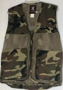 Browning Unisex Small Camouflage Hunting Vest Game Bird Fowl Mesh & Duck Canvas