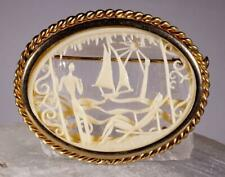 Vintage Celluloid Beach Scene Depose France Pin /Brooch