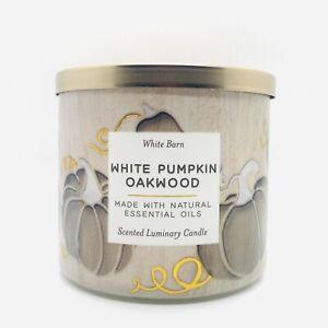 Bath & Body Works White Barn WHITE PUMPKIN OAKWOOD Large 3 Wick Candle 14.5 oz