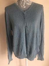 H&M Womens Cardigan Size 16-18 Sea Blue Long Sleeved Cotton With Buttons
