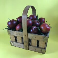 WOODEN BASKET OF FAKE APPLES KITCHEN DINING ROOM APPLE DECOR DECORATION