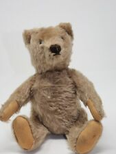 Antique Mohair Bear Squeaker Excelsior Stuffing Sewn Nose Paw Glass Eye Jointed