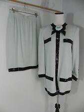 WJ- St John Evening 2 pc Aqua & Black skirt Suit + Jacket Sequin trim   sz 8/10