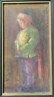 Antique Early 20th Century Signed Oil Painting Asian Child Beautiful Colors