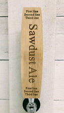 Beer tap handle oak barrel stave shape personalized with custom text oak wood.