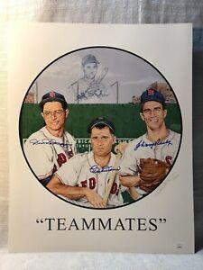 Dom DiMaggio Bobby Doerr Johnny Pesky Signed Boston Redsox Teammates Lithograph