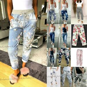 Ladies Joggers Floral Turn Up Cuffed Trousers Womens Summer Italian Bottom Pants