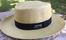 PANAMA JACK NATURAL STRAW OPTIMO GOLF OUTDOORS SUN PROTECTION HAT S/M Flexible