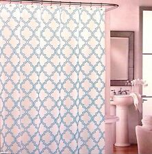 NEW Cynthia Rowley Aqua Blue Quatrefoil 100% Cotton Shower Curtain Geometric