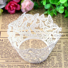 White 12Pcs Hollow Out Paper Wrapper Cake Cup Baking Cupcake Cases Muffin Cake