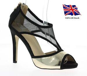 Womens-Ladies Stiletto Heel Strappy Peep Toe Back Zip Black&Gold UK STOCK
