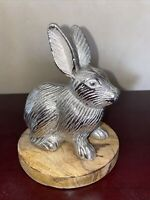 Silver Easter Bunny Rabbit Decor Wood And Metal- farmhouse table top decor
