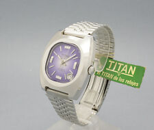 New Old Stock TITAN GENEVE purple dial! AUTOMATIC vintage watch NOS ETA 2783