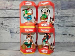 Energizer Mickey Mouse European Style Glass Christmas Ornaments Set of 4