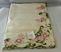 "Printemps Cutwork Tablecloth Topper Ivory and Floral 54"" X 54"