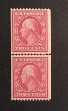 US Genuine Coil Line Pair: Scott #349  2c Washington Franklin  Mint VLH OG $550