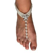 Barefoot Sandals Beach Wedding Themed Ivory Pearl Anklet with Sparkling Cryst...