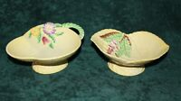 Two Vintage Carlton Ware Footed Candy Dishes Foxglove & Spring Flower Basket