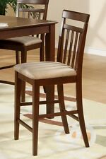 Set of 4 East West counter height bar stool chairs microfiber padded mahogany