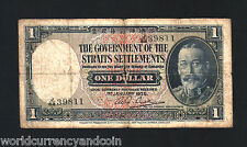 STRAITS SETTLEMENTS 1 DOLLAR P16 1935 KING GEORGE MALAYSIA SINGAPORE TIGER NOTE