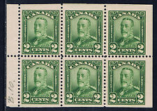 Canada #150a(1) 1928 2 cent green George V BOOKLET PANE of 6 MH CV$45.00