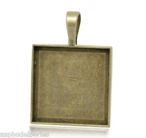 Pendentif support de cabochon ou camée couleur bronze 38 x 27 mm