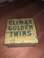 "Climax Golden Twins"" Square Tobacco Tin by P. Lorillard Co 5 Cents CAN ANTIQUE"