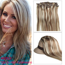 Clip on Human Hair Extension 100% Real Brown Blonde 8/613# 15'' 7pcs