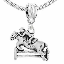 Jockey and Horse Jumping Over Fence Dangle European Bead Compatible for Most Eur