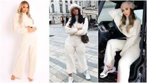 Womens Teddy Soft Borg Baggy Sweatshirt Top Flare Trousers 2 Pcs Set Loungewear