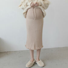 Pregnant Lady Maternity Pregnancy Knit Skirt Knitwear Elastic Midi Dress Warm