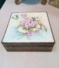 Limoges French Signed Trinket Glove Box Jewelry Casket Violas