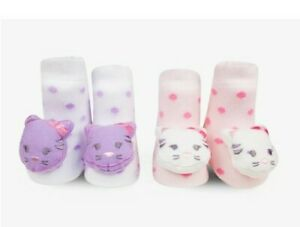 WADDLE & FRIENDS BABY GIRL GIFT 2pr KITTY CAT GRIP RATTLE SHOE SOCKS 0-12m
